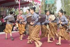 Hundreds of Farmers Female Dancer Performed In Sukoharjo Royalty Free Stock Photos