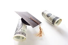 Hundreds and grad cap Stock Photography