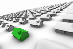 Hundreds of Houses One Green Stock Photos