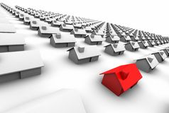 Hundreds of Houses, One Red Royalty Free Stock Photography