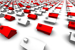 Hundreds of Houses, Some Red Stock Image