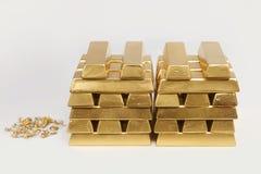Deposit of illegal gold in amount of 500 kilos in standard bricks. Hundreds kilos of illegal gold bullions on background stock photos
