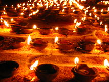 Hundreds of Lamps. A beautitful background of hundreds of lamps lit up on the occassion of Diwali festival in India Stock Images