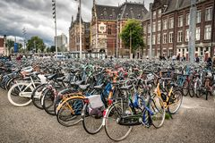 Hundreds of locked up bicycles royalty free stock photography