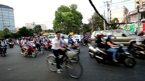 Hundreds of motorcyclists run on the road in the rush hour, ho chi minh city, Vietnam