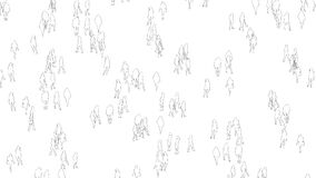 Hundreds of multiracial black and white outlines of people standing in a crowd -animation on the white rotating camera