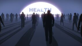 Hundreds of people in silhouette, walking towards a light with Health text