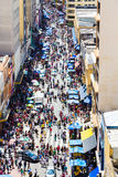 Hundreds of People walk along the 25 March area in Sao Paulo, Brazil Stock Images