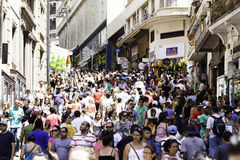 Hundreds of People walk along the 25 March area in Sao Paulo, Brazil Stock Image