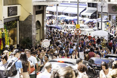 Hundreds of People walk along the 25 March area in Sao Paulo, Brazil Stock Photography