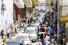 Hundreds of People walk along the 25 March area in Sao Paulo, Brazil Royalty Free Stock Photos