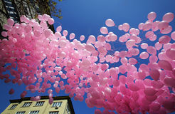 Hundreds of pink balloons Royalty Free Stock Photos