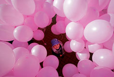 Hundreds of pink balloons Royalty Free Stock Images