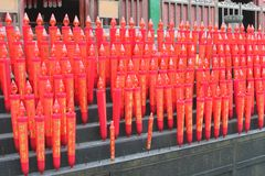 Red candles in the Confucian Lingyin temple, China Stock Image