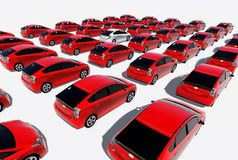 Hundreds of red cars, One white. Made in 3d software Stock Photo