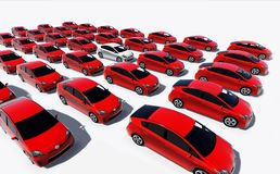 Hundreds of red cars, One white Royalty Free Stock Photography