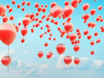 Hundreds of the red flying balloons Royalty Free Stock Image