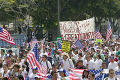Hundreds of thousands of immigrants. Participate in march for Immigrants and Mexicans protesting against Illegal Immigration reform by U.S. Congress, Los Stock Image