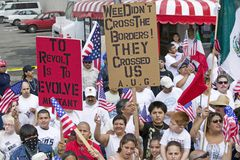 Hundreds of thousands of immigrants. Participate in march for Immigrants and Mexicans protesting against Illegal Immigration reform by U.S. Congress, Los Royalty Free Stock Image