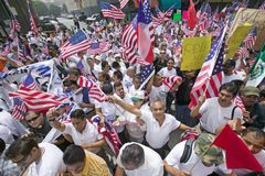Hundreds of thousands of immigrants. Participate in march for Immigrants and Mexicans protesting against Illegal Immigration reform by U.S. Congress, Los Royalty Free Stock Photos