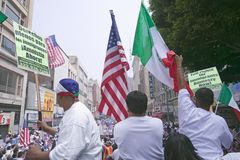 Hundreds of thousands of immigrants. Participate in march for Immigrants and Mexicans protesting against Illegal Immigration reform by U.S. Congress, Los Royalty Free Stock Photo