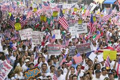 Hundreds of thousands of immigrants. Participate in march for Immigrants and Mexicans protesting against Illegal Immigration reform by U.S. Congress, Los Stock Photos