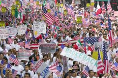 Hundreds of thousands of immigrants. Participate in march for Immigrants and Mexicans protesting against Illegal Immigration reform by U.S. Congress, Los Royalty Free Stock Images