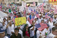 Hundreds of thousands of immigrants participate in march for Immigrants and Mexicans protesting against Illegal Immigration reform Royalty Free Stock Photography