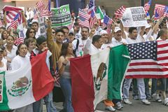 Hundreds of thousands of immigrants participate in march for Immigrants and Mexicans protesting against Illegal Immigration reform. By U.S. Congress, Los royalty free stock image