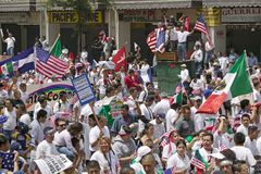 Hundreds of thousands of immigrants participate in march for Immigrants and Mexicans protesting against Illegal Immigration reform. By U.S. Congress, Los royalty free stock photography