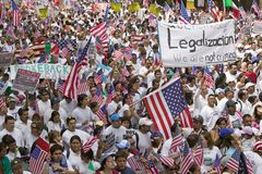 Hundreds of thousands of immigrants participate in march for Immigrants and Mexicans protesting against Illegal Immigration reform. By U.S. Congress, Los stock photos