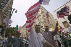 Hundreds of thousands of immigrants participate in march for Immigrants and Mexicans protesting against Illegal Immigration reform. By U.S. Congress, Los royalty free stock photo