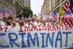 Hundreds of thousands of immigrants participate in march for Immigrants and Mexicans protesting against Illegal Immigration reform Stock Photo
