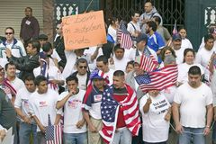 Hundreds of thousands of immigrants participate in march for Immigrants and Mexicans protesting against Illegal Immigration reform Royalty Free Stock Photos