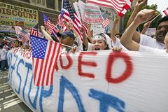 Hundreds of thousands of immigrants participate in march for Immigrants and Mexicans protesting against Illegal Immigration reform Royalty Free Stock Images