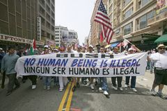 Hundreds of thousands of immigrants participate in march for Immigrants and Mexicans protesting against Illegal Immigration reform Stock Photos
