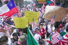 Hundreds of thousands of immigrants participate in march for Immigrants and Mexicans protesting against Illegal Immigration reform. By U.S. Congress, Los stock image