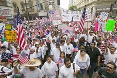 Hundreds of thousands of immigrants participate in march for Immigrants and Mexicans protesting against Illegal Immigration reform Stock Images