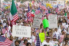 Hundreds of thousands of immigrants participate in march for Immigrants and Mexicans protesting against Illegal Immigration reform Royalty Free Stock Image
