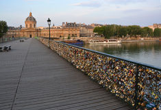 The hundreds of thousands of Locks on the Pont Des. The hundreds of thousands of romantically love inscribed padlocks on the Pont Des Arts Bridge, Paris France Stock Photos