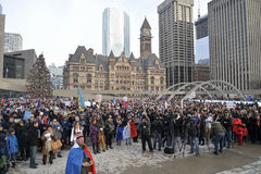 Hundreds of Torontonians converged on Nathan Philips Square Stock Images