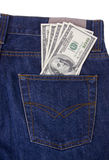 Hundreds of us dollars money in back pocket Royalty Free Stock Photography