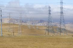 Wind farm in Livermore Golden Hill in California. Hundreds of wind turbines in wind farm in Livermore Golden Hill in California in the United States of America Stock Photos