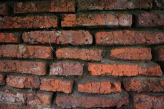 Hundreds of years old red brick walls are still intact and durable stock photo