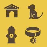 Hunds uppsättning för symboler för temavektor Arkivfoton