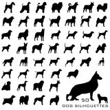 hundsilhouettes Arkivfoto