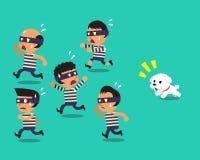 Hundspring för tecknad film lite som fångar tjuvar Royaltyfri Foto