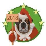 HundSt Bernard lyckligt nytt år 2018 Royaltyfri Bild