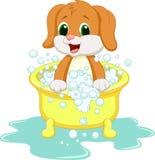 Hundtecknad filmbadning stock illustrationer