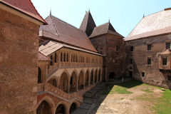 Huneazilor castle court , Romania Stock Photo